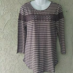 LC Lauren Conrad brown lace top striped blouse exc